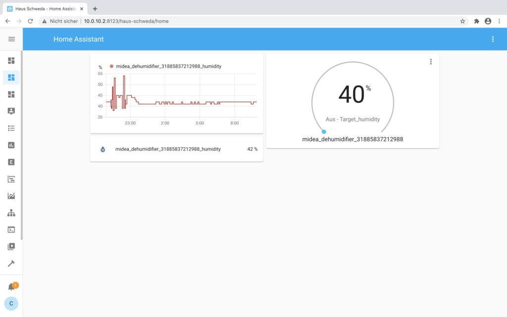 Beide Sensoren in der Lovelace UI